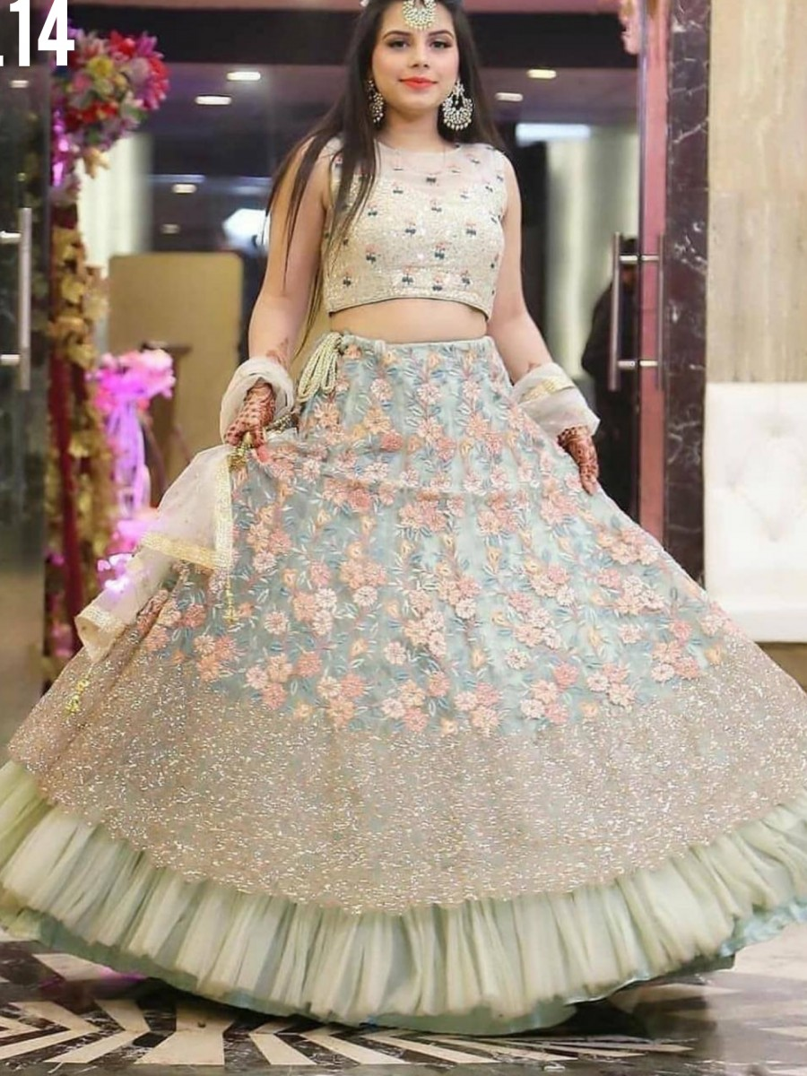 Indian Wear Soft mono net   lehenga with Heavy Sequence Embroidery work lehenga with blouse